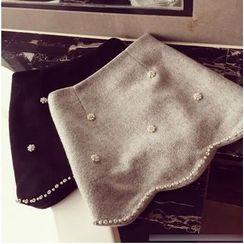 Octavia - Embellished Woolen A-Line Skirt