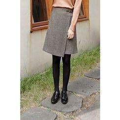 CHERRYKOKO - Buckled-Waist Wool Blend Plaid Wrap Skirt