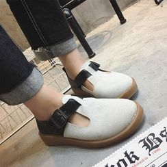 SouthBay Shoes - Color Panel T-Bar Slip-Ons