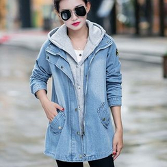 Quintess - Set: Washed Denim Zip Jacket + Plain Hooded Vest