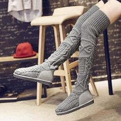 JY Shoes - Cable Knit Over-the-Knee Boots