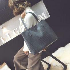 薇薇 - 套装: 压纹仿皮手提袋 + 拉链小袋
