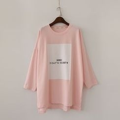 Viana Smile - Maternity Lettering Long Sleeve T-Shirt Dress