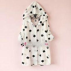 Munai - Tab-Sleeve Embroidered Hooded Chiffon Shirt
