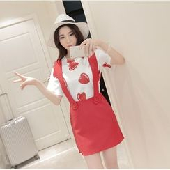 CHIH - Set: Print Short-Sleeve T-Shirt + Suspender Skirt