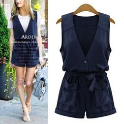 VIZZI - V-Neck Sleeveless Playsuit