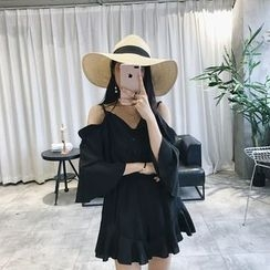 RUI - Plain Cut Out Shoulder 3/4 Sleeve Playsuit