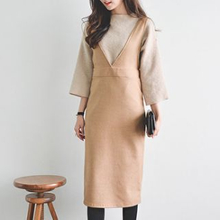 JUSTONE - V-Neck Wool Blend Jumper Dress