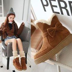 Pangmama - Platform Bow-Accent Short Boots