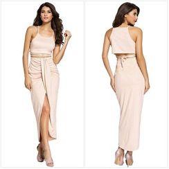 Dear Lover - Set: Faux Suede Camisole Top + Front Slit Maxi Skirt