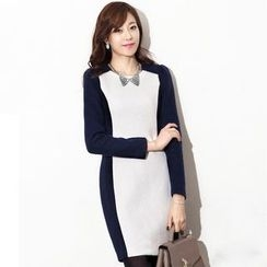 Eleganza - Two Tone Long Sleeve Sheath Dress