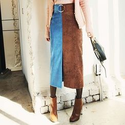 DABAGIRL - Belted Color-Block Corduroy Long Skirt