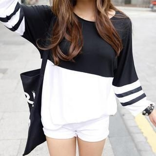 REDOPIN - 3/4-Sleeve Color-Block T-Shirt