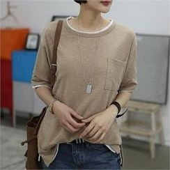 CHICFOX - Elbow-Sleeve Pocket-Front T-Shirt