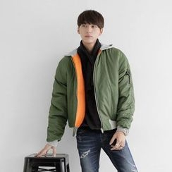 Seoul Homme - Contrast-Trim Hooded Flight Jacket