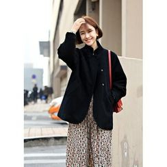 ssongbyssong - Funnel-Neck Wool Blend Coat