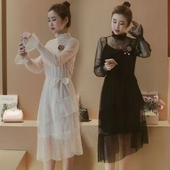 Munai - Long-Sleeve Ruffle Lace Dress