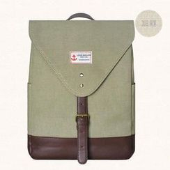 SUPER LOVER - Faux-Leather Trim Buckled Canvas Backpack