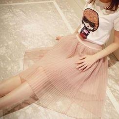 Sunny House - Pleated A-Line Midi Skirt