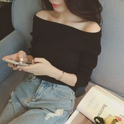 QZ Lady - Off-Shoulder Ribbed Top