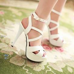 Pastel Pairs - Cross Strap Platform Stiletto Sandals
