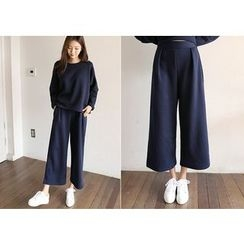 Hello sweety - Set: Drop-Shoulder Pullover + Band-Waist Pants