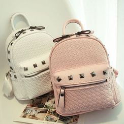 Clair Fashion - Studded Woven Faux Leather Backpack