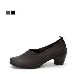 MODELSIS - Genuine-Leather Chunky-Heel Pumps