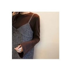 CHERRYKOKO - Bell-Sleeve Wool Blend Knit Top