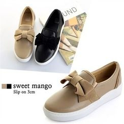 SWEET MANGO - Beribboned Faux-Leather Slip-Ons