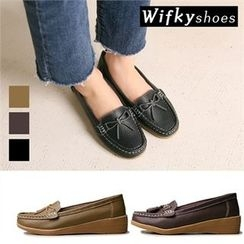 Wifky - Stitched Ribbon Genuine Leather Loafers