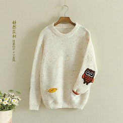 Storyland - Owl-Applique Melange Sweater
