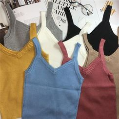 ALIN STYLE - V-Neck Knitted Camisole Top