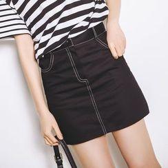 HotBlock - Contrast Stitch A-Line Mini Skirt