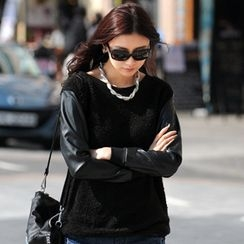 SO Central - Faux Leather Knit Top