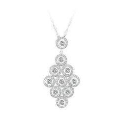BELEC - 925 Sterling Silver Rhombus Pendant with White Cubic Zircon and Necklace