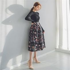 ERANZI - Flower Pattern Long Flare Skirt