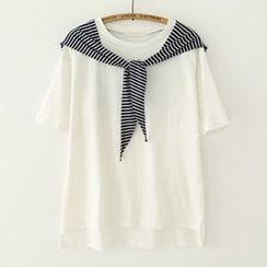 Meimei - Striped Panel Tie-Front Crewneck T-Shirt