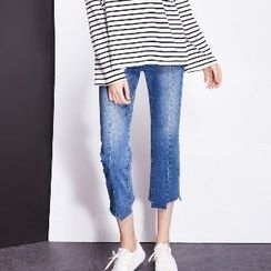 Halona - Washed Cropped Jeans