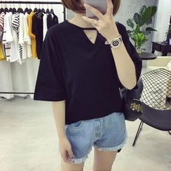 Ukiyo - Cut Out Front Elbow Sleeve T-Shirt