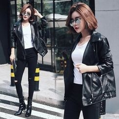 HAZEL - Faux-Leather Biker Jacket