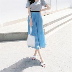 ZIZIBEZIRONG - Band-Waist Pleated Long Skirt