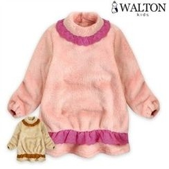 WALTON kids - Girls Mock-Neck Contrast-Frill Top