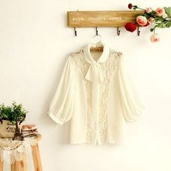 11.STREET - Lace Panel Ribbon Lantern Sleeve Blouse