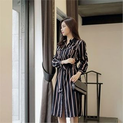 CHICLINE - Color-Block Stripe Shirtdress with Belt