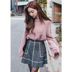 Chlo.D.Manon - Wool Blend A-Line Mini Skirt