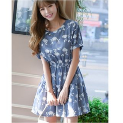 Dowisi - Print Short-Sleeve A-line Dress