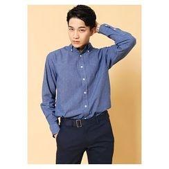 HOTBOOM - Cotton Buttoned-Collar Shirt