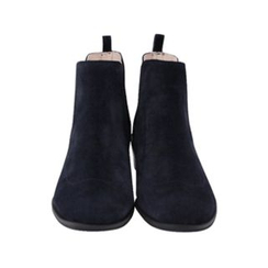 maybe-baby - Banded-Trim Genuine Leather Ankle Boots