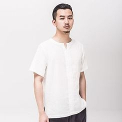 Ashen - V-Neck Linen T-Shirt